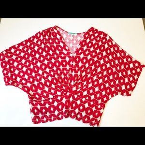 Pleione from Nordstrom Red/White Batwing Top Sz L